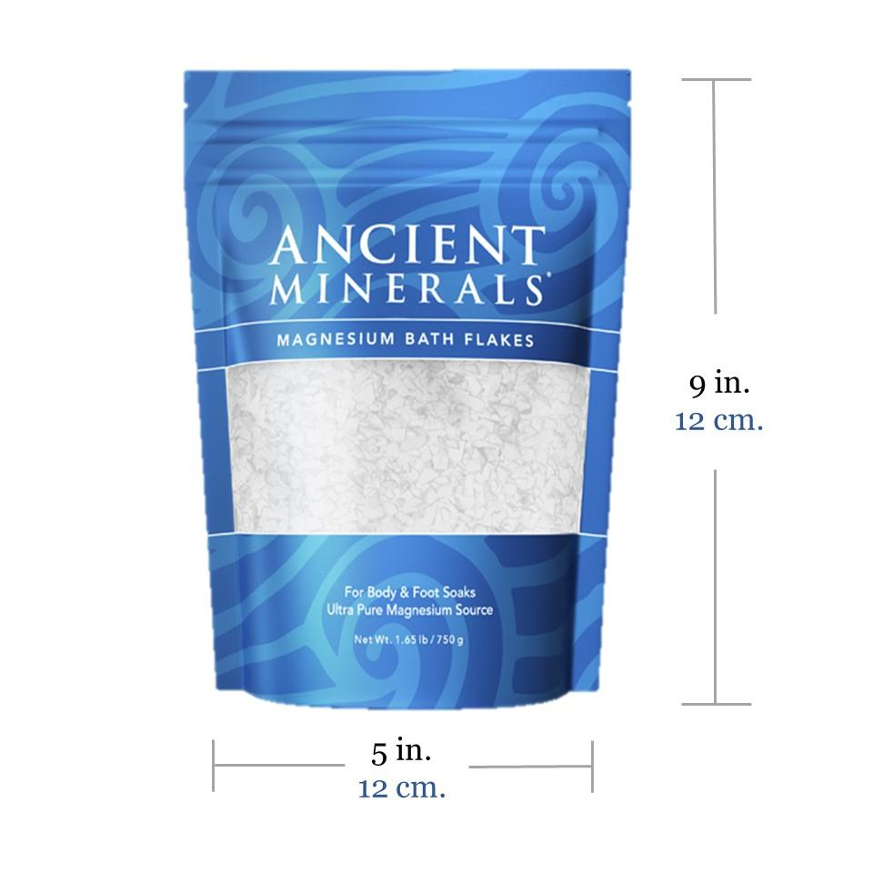 Ancient Minerals® Magnesium Bath Flakes 1.65 lb in stand-up resealable pouch size 9L x 7W x 3D inches available at www.mvpselections.com