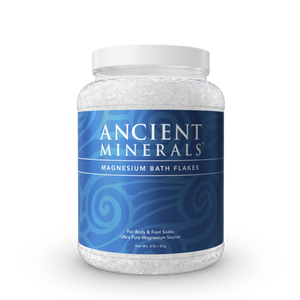 Ancient Minerals® Magnesium Bath Flakes 4 lb in Jar available at www.mvpselections.com