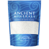 Ancient Minerals® Magnesium Bath Flakes 8 lb in stand-up resealable pouch available at www.mvpselections.com