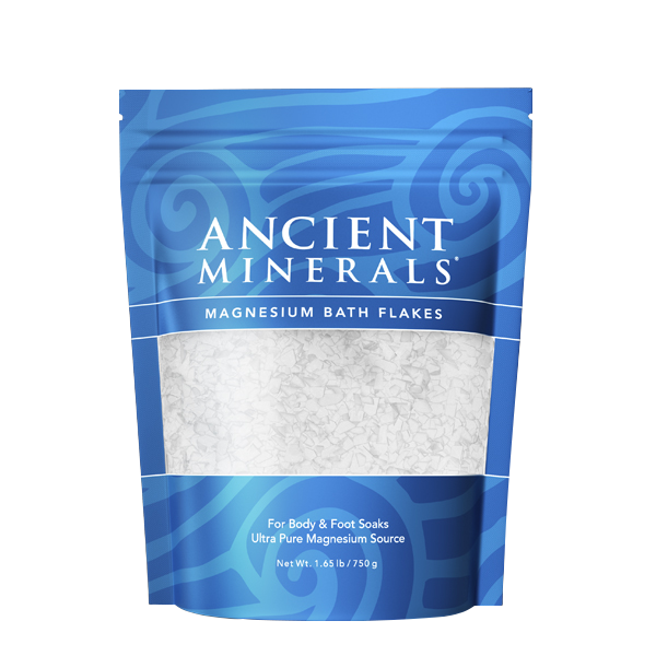 Ancient Minerals® Magnesium Bath Flakes 1.65 lb in stand-up resealable pouch available at www.mvpselections.com