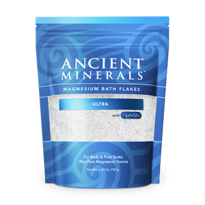 Ancient Minerals® Magnesium Bath Flakes ULTRA 1.65 lb in Pouch available at www.mvpselections.com