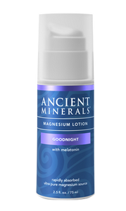 Ancient Minerals® Magnesium Lotion Goodnight 2.5 fl oz in airless pump bottle available at www.mvpselections.com