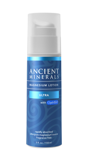 Ancient Minerals® Magnesium Lotion Ultra 5 fl oz in airless pump bottle available at www.mvpselections.com