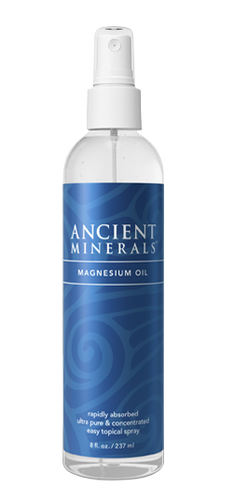 Ancient Minerals® Magnesium Oil 8 oz in spray bottle(original formula) available at www.mvpselections.com
