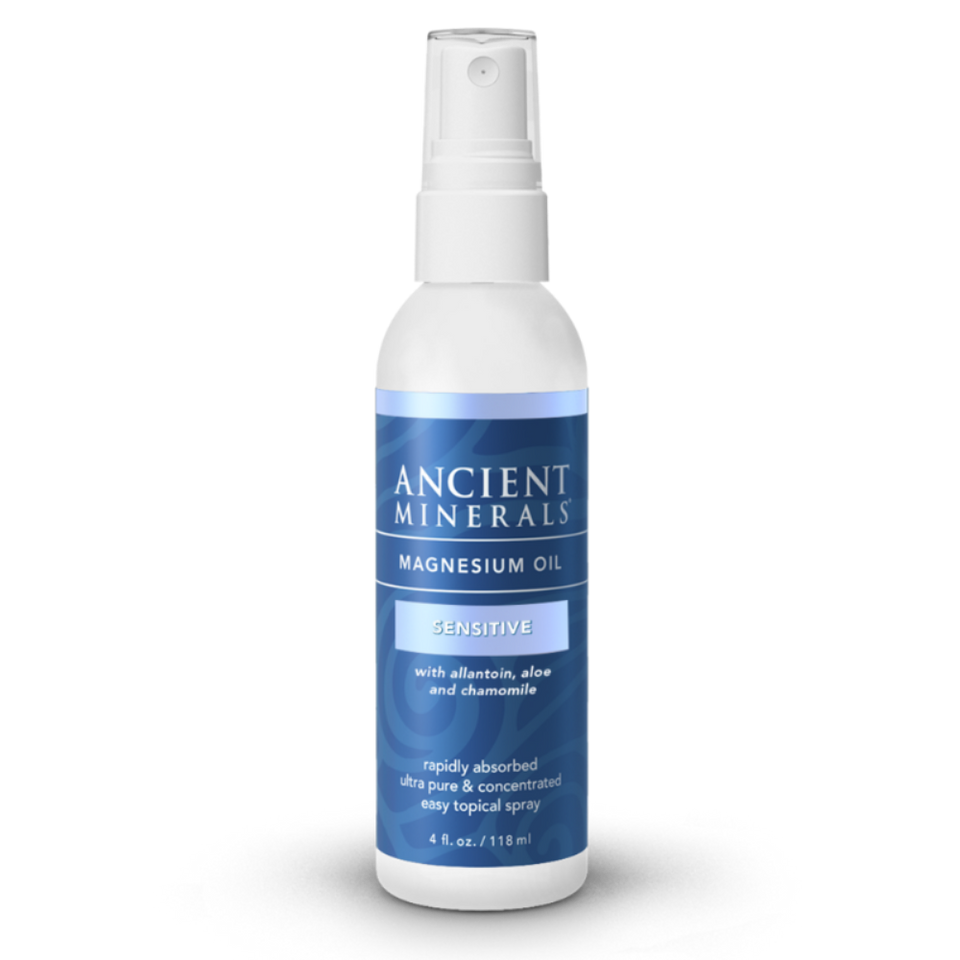 Ancient Minerals® Magnesium Oil Sensitive 4 fl oz in spray bottle available at www.mvpselections.com