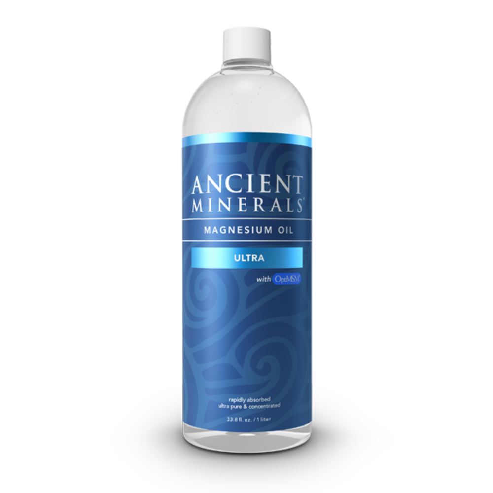 Ancient Minerals® Magnesium Oil Ultra 33.8 fl oz in spray bottle available at www.mvpselections.com