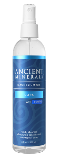 Ancient Minerals® Magnesium Oil Ultra 8 fl oz in spray bottle available at www.mvpselections.com