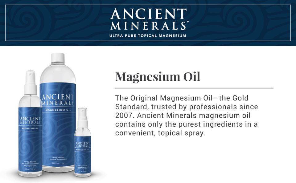 The Magnesium Oil Original Formula collection available in 4 fl. oz., 8 fl, oz, 33.8 fl oz.