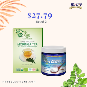 GreenEarth's Moringa Loose Leaf Tea + Coconut Oil ( Rich in MCTs)