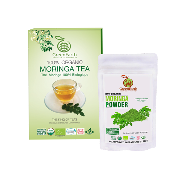 Greenearth's Moringa Loose Leaf Tea 3.5 oz + Moringa Powder 3.5 oz