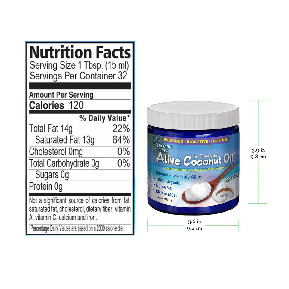 Coconut Secret extra-virgin oil 16 oz in blue glass jar, size and nutrition facts