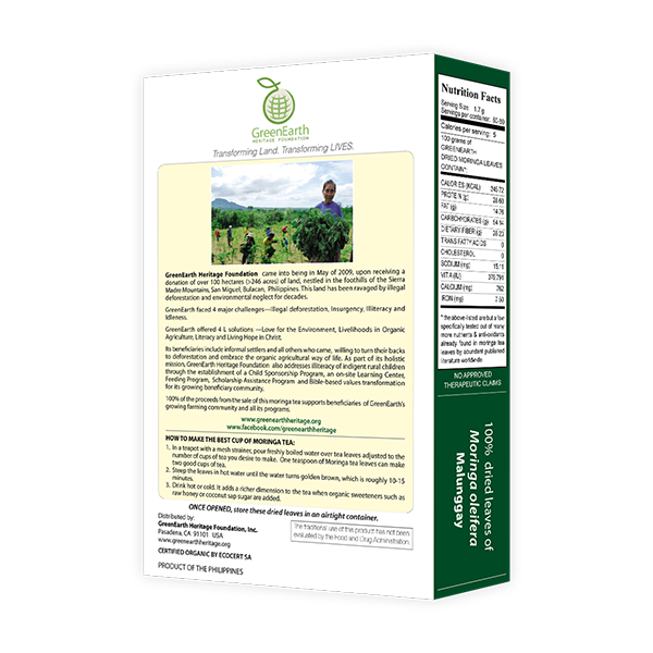 Back View Classic Small Pack Moringa Loose Leaf Tea 3.5 oz in Box by GreenEarth