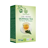 side View Classic Small Pack Moringa Loose Leaf Tea 3.5 oz in Box by GreenEarth