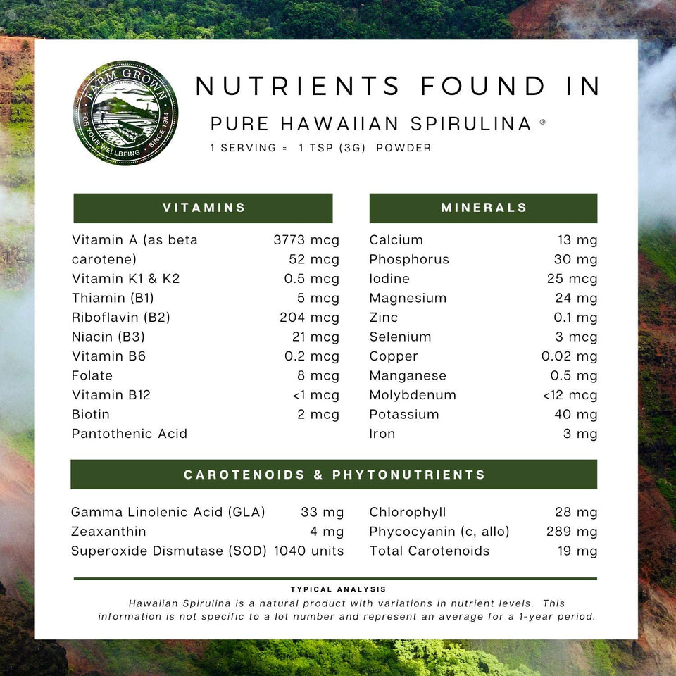 Nutrient List found in Nutrex Hawaiian Spirulina Pacifica Powder