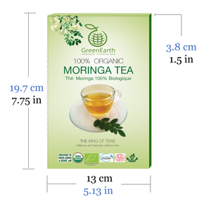 Size and Nutrition Facts of Classic Pack Moringa Loose Leaf Tea 3.5 oz in Box by GreenEarth