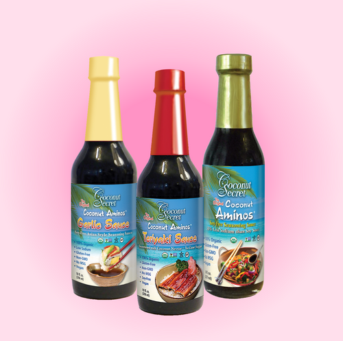 Set of 3 Coconut Secret® Coconut Aminos, Teriyaki, and Garlic  Soy-Free Seasoning Sauce