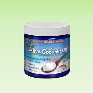 Coconut Secret extra-virgin oil 16 oz in blue glass jar