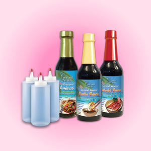 Coconut Secret® Saucy Set 3 - Aminos, Teriyaki, Garlic Soy-free Seasoning + 3 Squeeze Bottles
