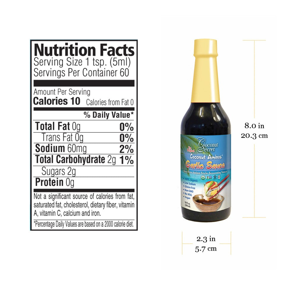 Coconut Secret® Saucy Set 3 - Aminos 8 oz., Teriyaki, and Garlic Soy-free Seasoning + 3 Squeeze Bottles