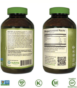 Nutrex Hawaiian Spirulina Pacifica Powder Back label  of 16 oz bottlewith Directions for use. Supplement Facts and seal of certifications