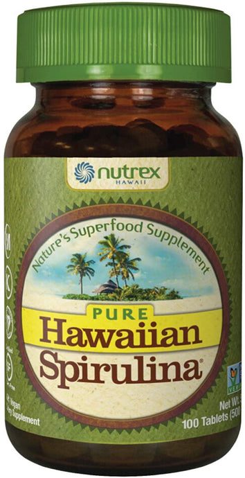 Nutrex Hawaiian Spirulina Pacifica Front bottle of 100 tablets count