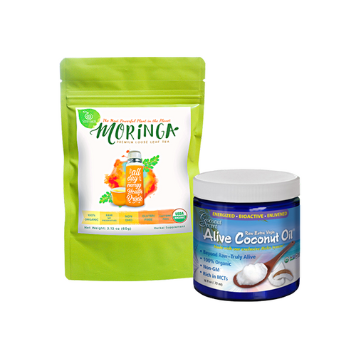 GREENEARTH MORINGA PREMIUM LOOSE LEAF TEA 2.12 OZ. (60G) + COCONUT SECRET® ALIVE COCONUT OIL 16 FL. OZ. - RICH IN MCTS