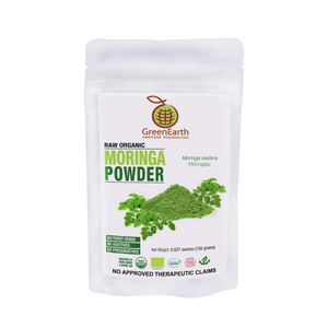 GreenEarth Moringa Powder 3.5 oz in white pouch