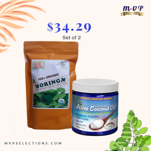 GREENEARTH MORINGA PREMIUM LOOSE LEAF TEA 5 OZ. (142G) + COCONUT SECRET® ALIVE COCONUT OIL 16 FL. OZ. - RICH IN MCTS