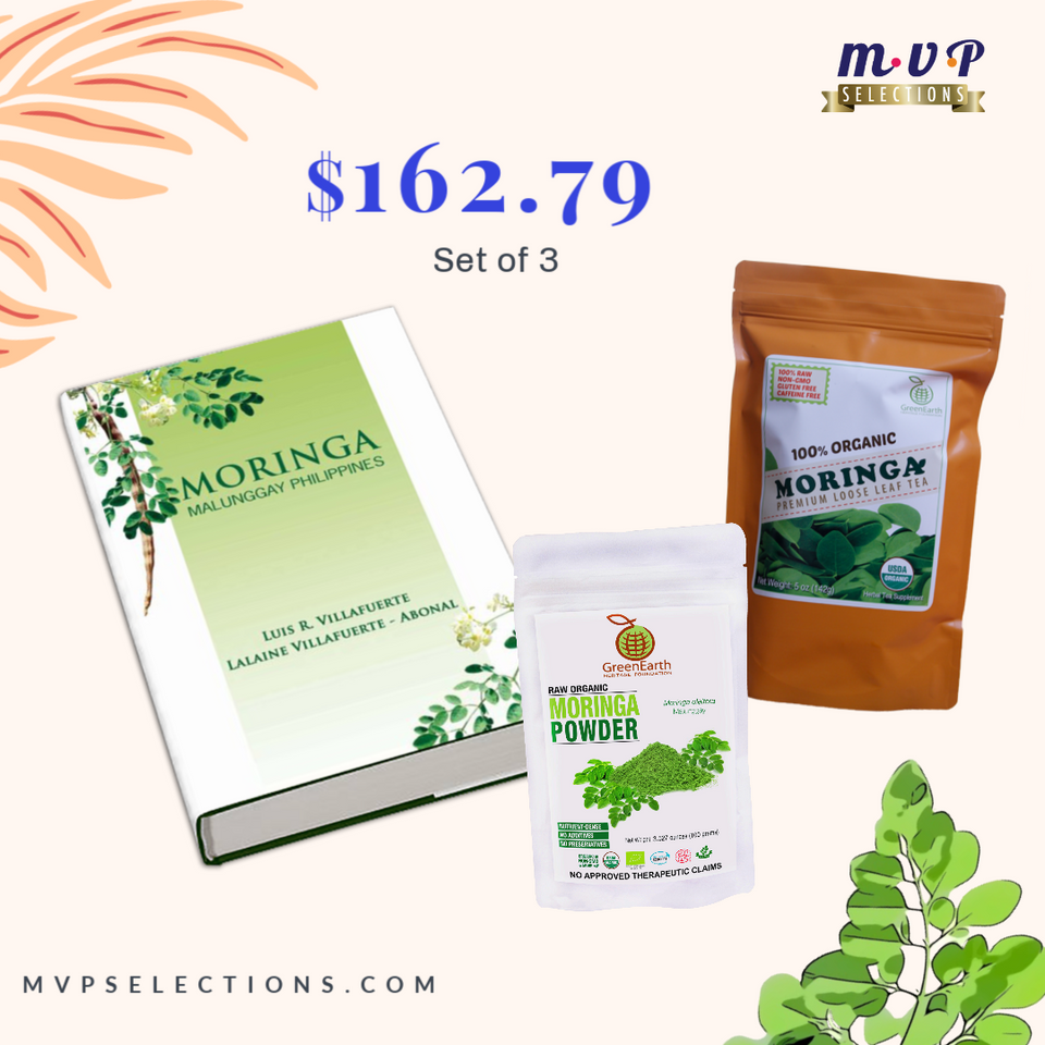 GREENEARTH MORINGA PREMIUM LOOSE LEAF TEA 5 OZ. (142G) + GREENEARTH MORINGA POWDER 3.5 OZ. (100G) + Moringa Book