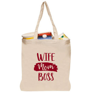 Wife Mom Boss Tote Bag