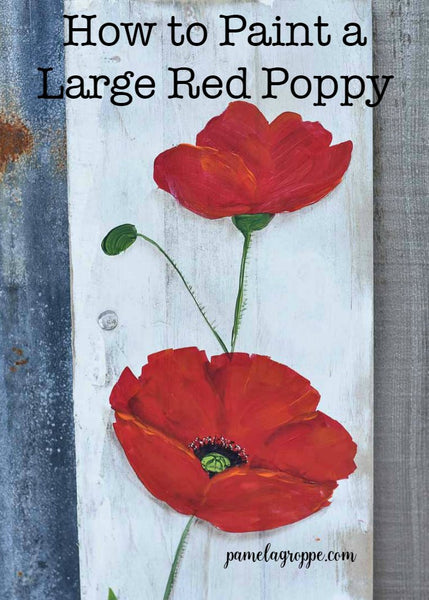 Paint a Large Red Poppy E-Book with Traceable Pattern