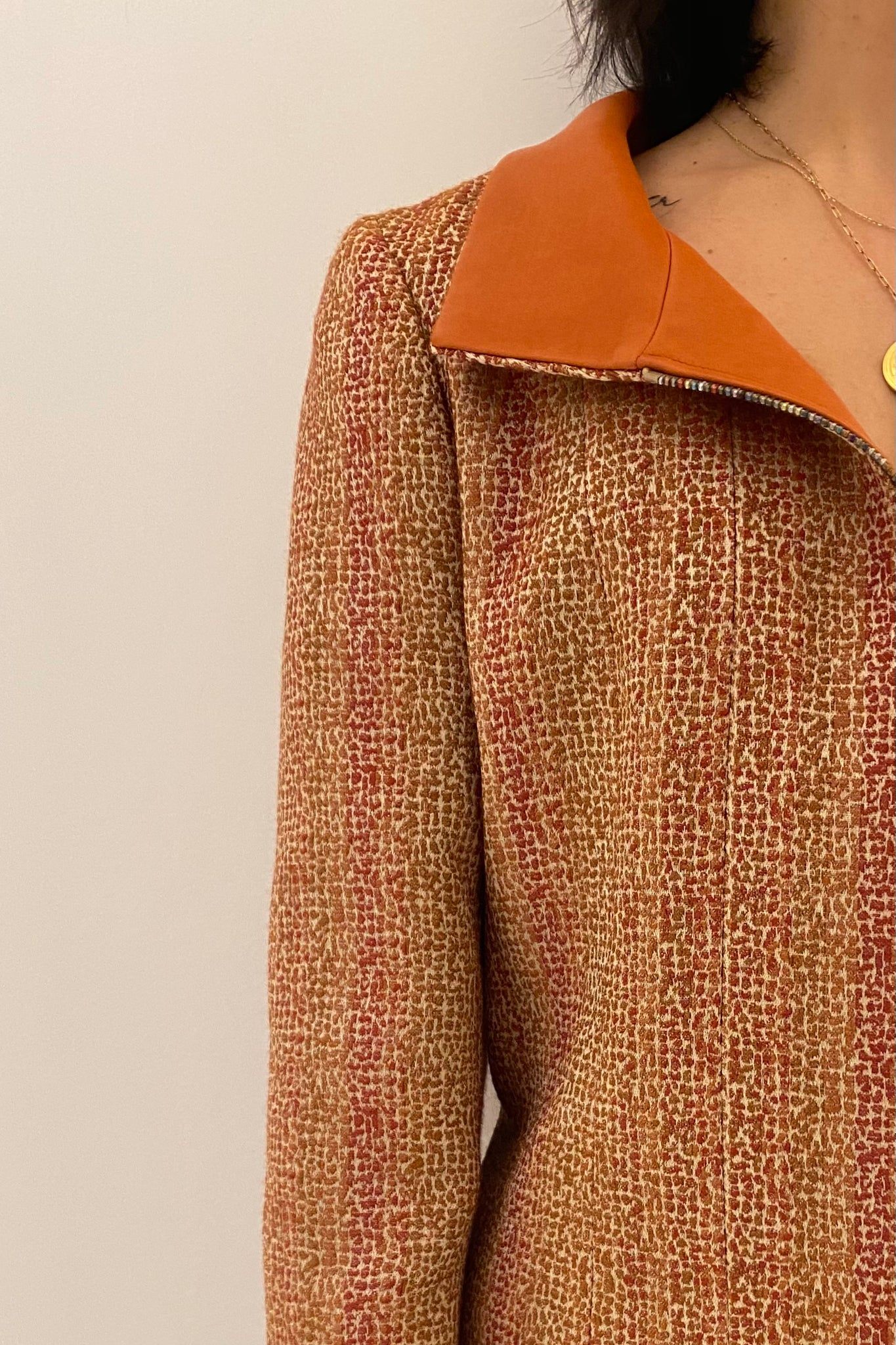 Chanel Orange Tweed Cruise Jacket