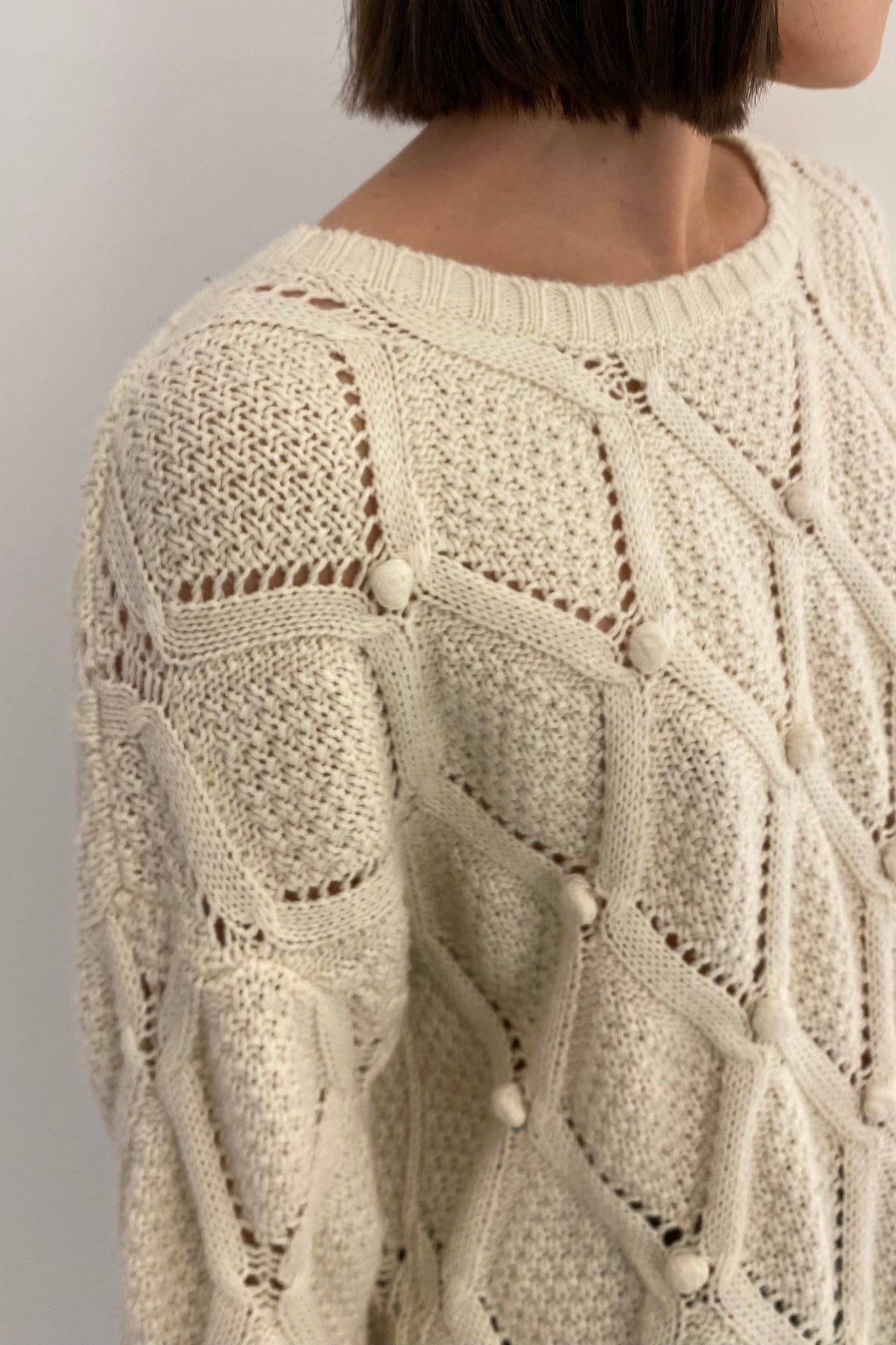 Cream Knit Pom Pom Sweater