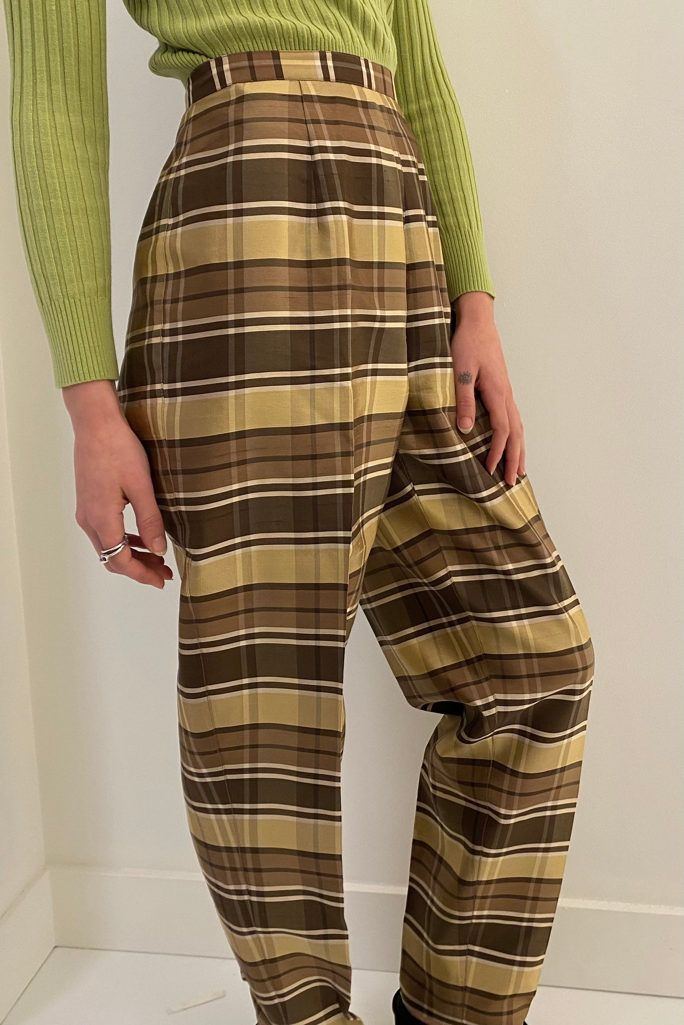 Silk Gold Plaid Trouser