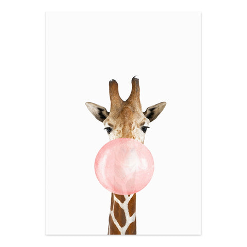 Affiche girafe bubble-gum rose