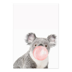 Affiche koala bubble-gum rose