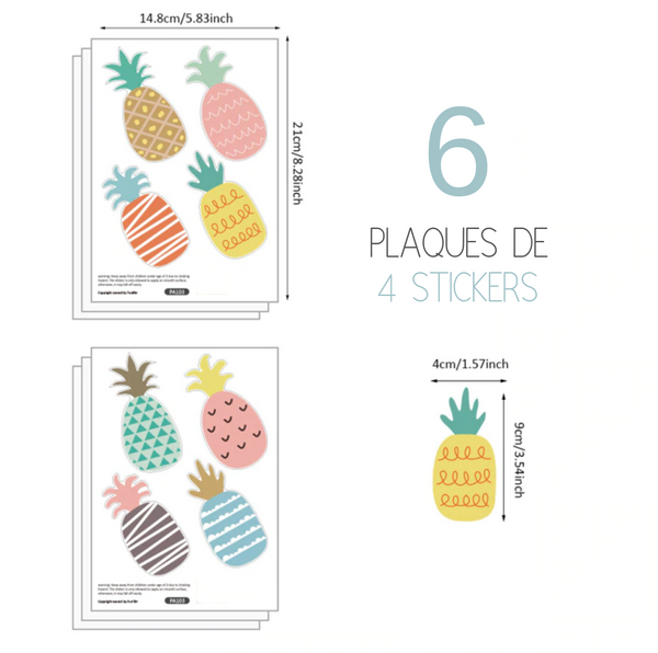 Stickers muraux ananas colorés