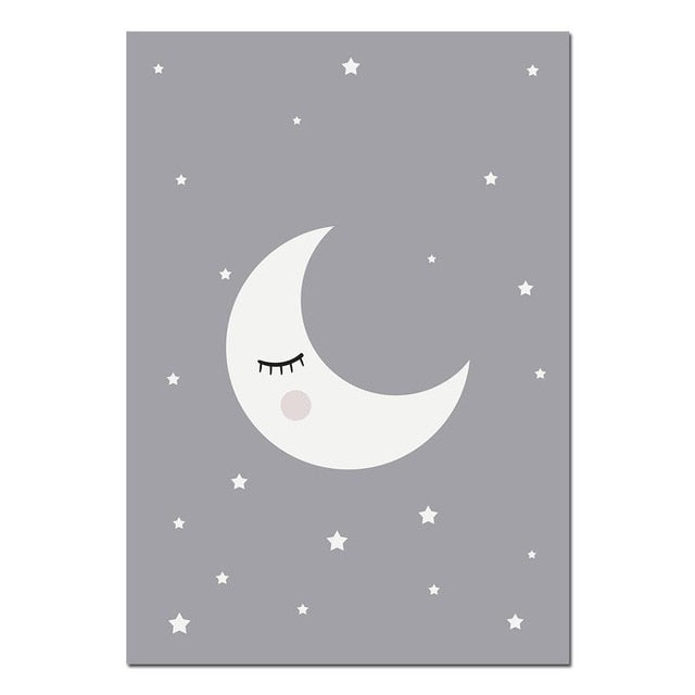 Affiche lune fond gris anthracite