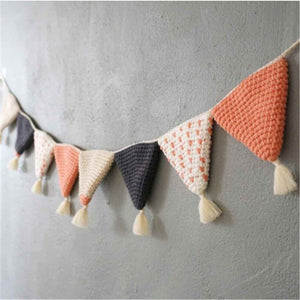 Guirlande fanions tricot orange