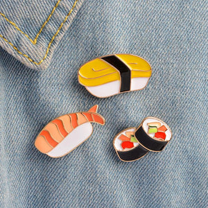 Japanese Anime Sushi Enamel Pin Set