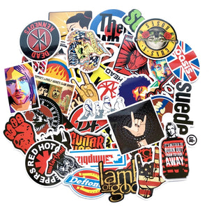 ROCK + ROLL!  Variety packs of retro Rock Punk Emo Grunge Hip Hop music decals
