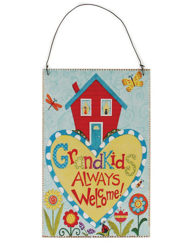 Blossom Bucket Grandkids Always Welcome Hanging Plaque