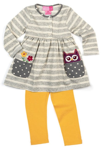 Good Lad Fall Grey and Yellow Owl Set