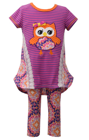Bonnie Jean Purple and Orange Damask Owl Legging Set