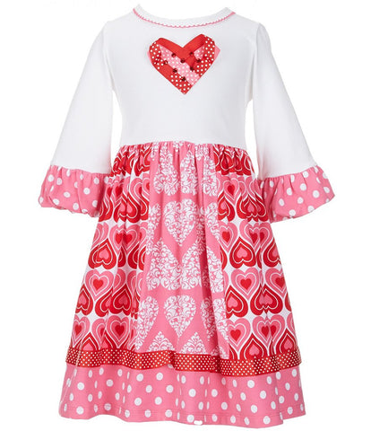 Bonnie Jean Paneled Ribbon Heart Valentine's Day Dress