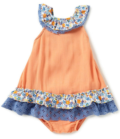 Rare Editions Orange and Blue Floral Dress Set