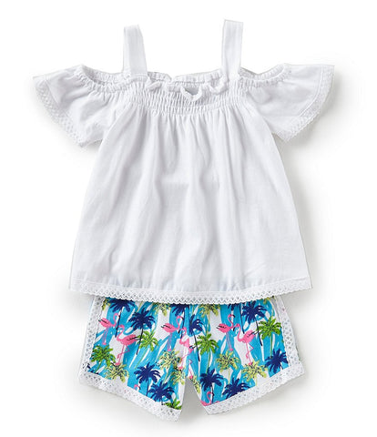 Rare Editions Flamingo Print Shorts Set
