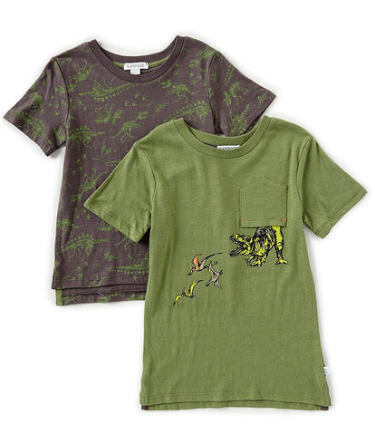 Flapdoodles 2 Pack of Green Dinosaur T-shirts