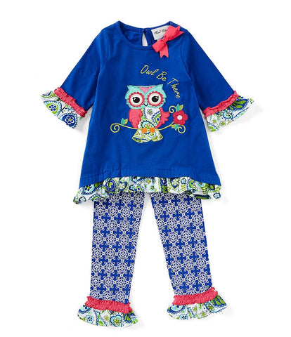 "Rare Editions ""Owl Be There"" Royal Blue Legging Set"
