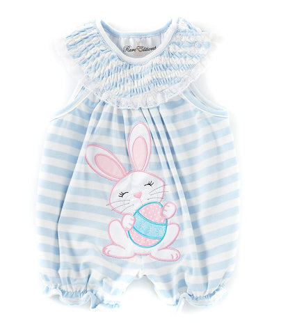 Rare Editions Blue Striped First Easter Bunny Bubble Romper